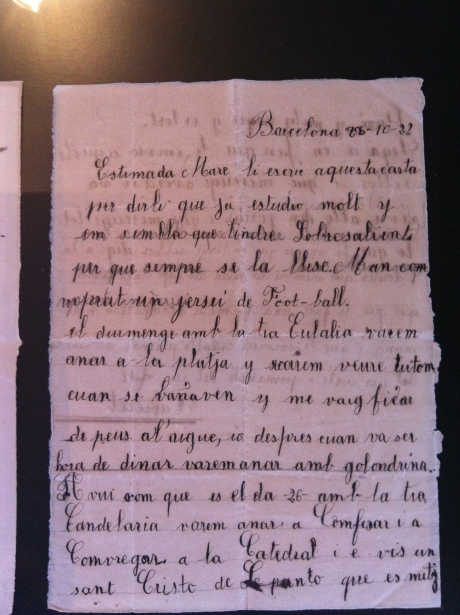 Xavier Montsalvatge, at the age of 10, writes a letter to his mother